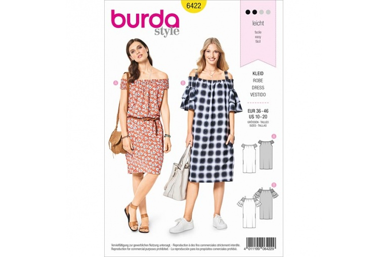 Střih Burda 6422 na šaty  5c58c4b350