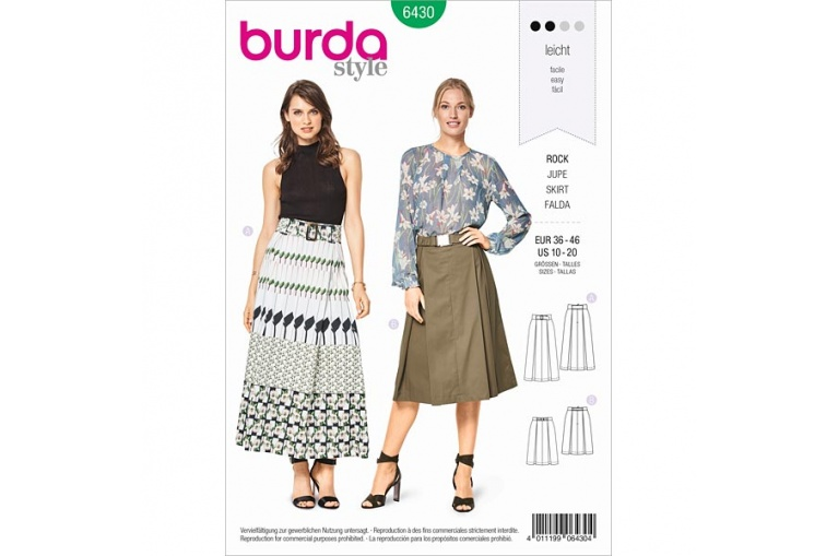 9473f6c58f65 Střih Burda číslo 6430 na sukni