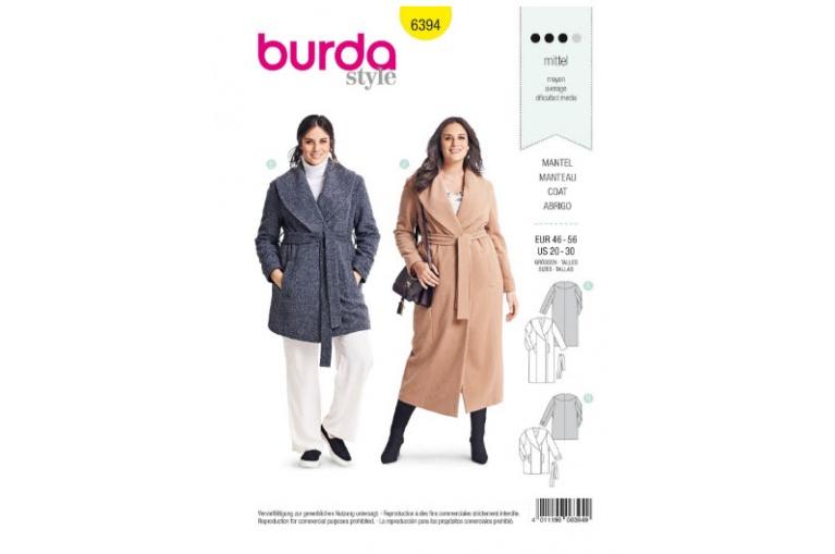 2f8ea0c55adf Střih Burda 6394 na kabát a kabátek pro plnoštíhlé ...