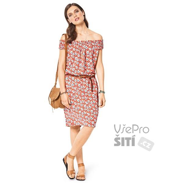 ... Burda dámské BOHO letní šaty bez ramínek s páskem Rozkres střihu ... 399edc8d6f