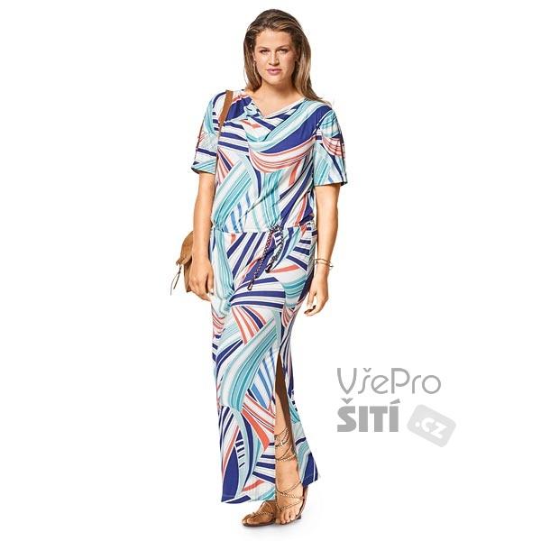 26b908fc902 ... Burda střih dámské šaty pro plnoštíhlé dlouhé s rozparkem ...