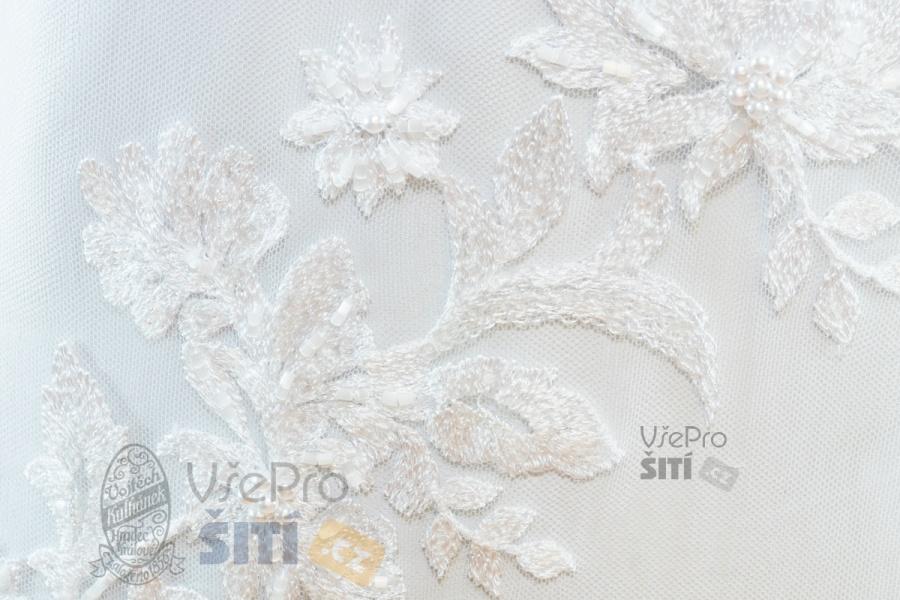 Metráž - svatební krajka BÍLÁ s korálky LZ92294001 - látka na svatební a  společenské šaty 5ac928f6855