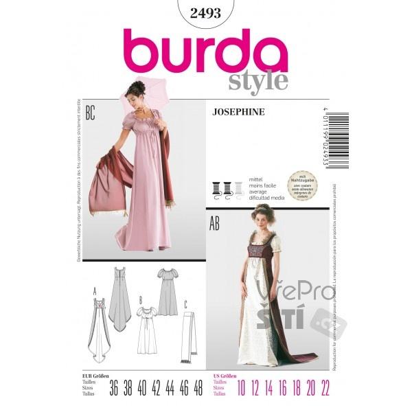 1b10e67302e8 Střih Burda 2493 Empírové šaty
