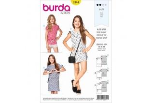 654d3994004 Střih Burda číslo 9344 na dětské tričko a šaty ve vel. 116-158