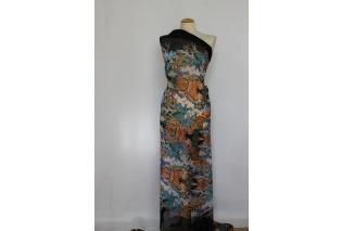 Metráž - Šifon barevný s květy a černou bordurou - šatovka 270e45acd50